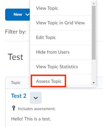 Assess topic option in dropdown menu