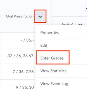 Enter grades option under grade item dropdown