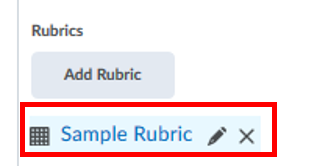 rubric added, edit or remove buttons