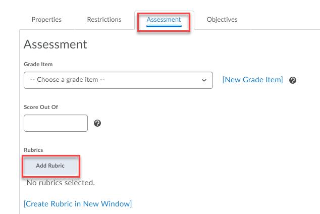 Assessment tab, add rubric