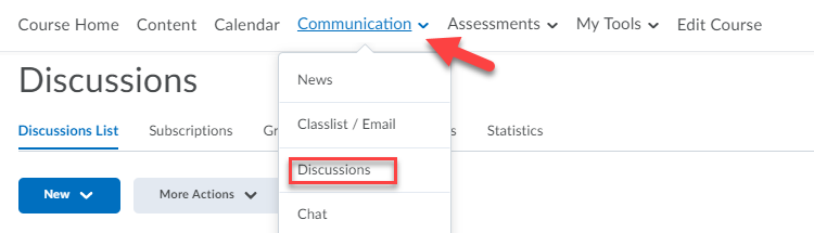 Discussions item under Communication