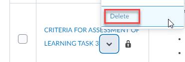 delete option selection